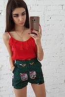 Комплект: Шорты с тропическим принтом и красная майка с кисточками , фото 1
