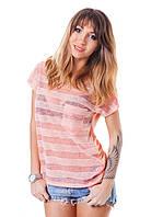 Полупрозрачная женская футболка (в расцветках) персик, XS