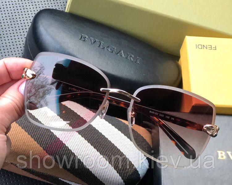 Женские безоправные солнцезащитные очки Bvlgari (6103) brown Lux