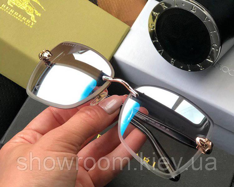 Женские безоправные солнцезащитные очки Bvlgari (6103) grey mirror Lux