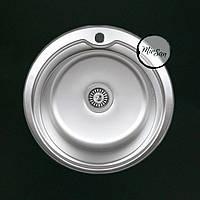 Круглая врезная кухонная мойка Falanco матовая, 510мм, толщина 0.8 мм