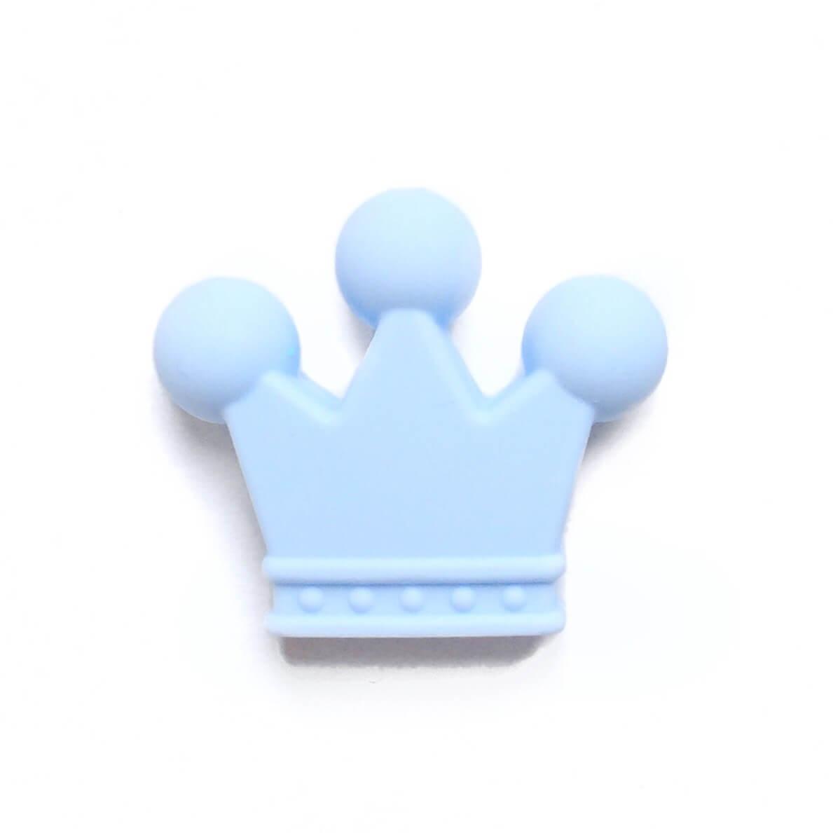 Корона (беби блю) бусина из пищевого силикона