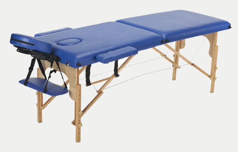 Массажный стол BODYFIT 2 сегментный деревянный, синий