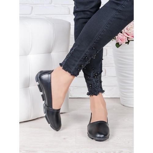 Женские туфли балетки мокасины кожаные на низком ходу