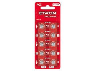 Батарейка AG 3 (LR41) ETRON Alkaline