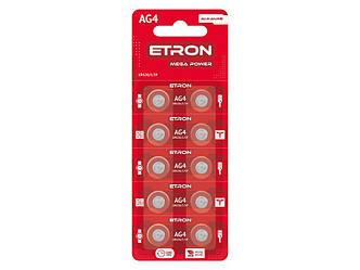 Батарейка AG 4 (LR626) ETRON Alkaline блістер