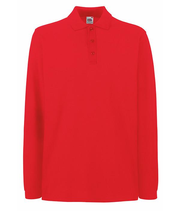 Мужская футболка поло с длинным рукавом S Красный