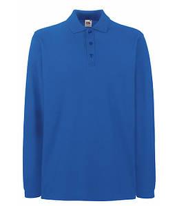 Мужская футболка поло с длинным рукавом S Ярко-Синий