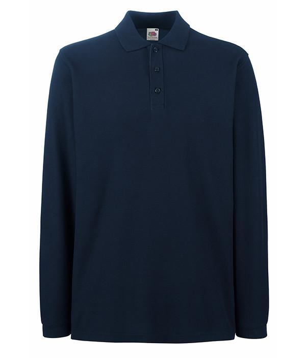 Мужская рубашка поло с длинным рукавом 52, Длинный, Глубокий Темно-Синий