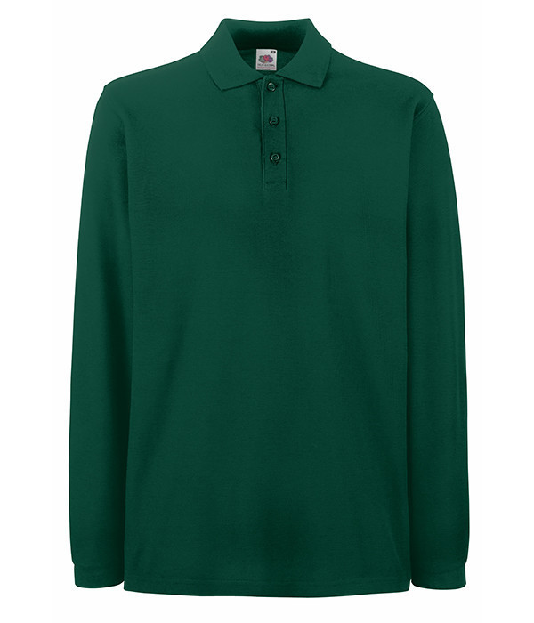 Мужская рубашка поло с длинным рукавом L, Темно-Зеленый