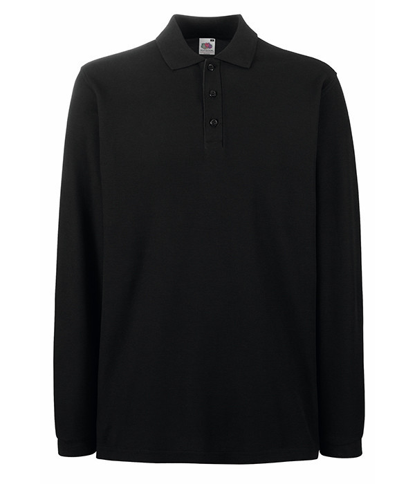 Мужская футболка поло с длинным рукавом 2XL Черный
