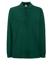 Мужская рубашка поло с длинным рукавом 2XL, Темно-Зеленый