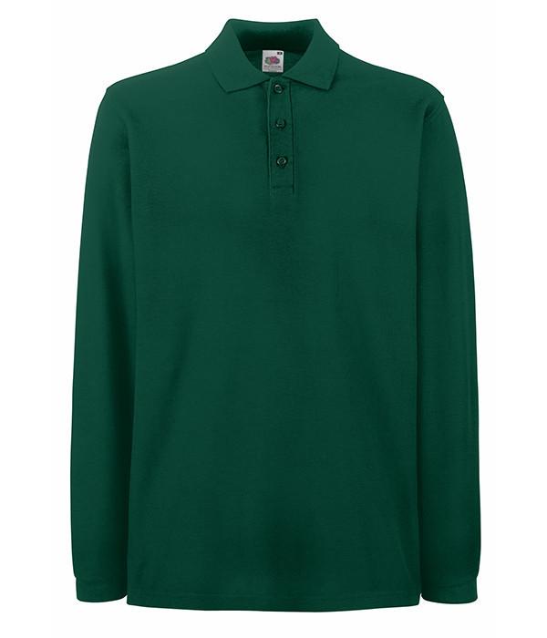 Мужская рубашка поло с длинным рукавом 3XL, Темно-Зеленый