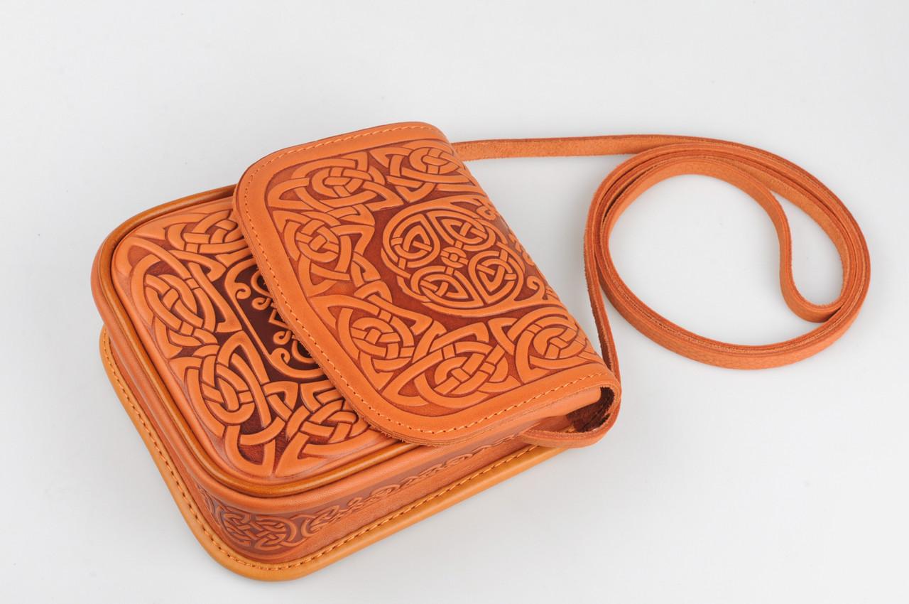 9e127757a063 Маленькая кожаная сумочка ручной работы, рыжая женская сумка через плечо,  тисненая кожа