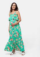 Длинный сарафан с воланом для беременных и кормящих (tropic)