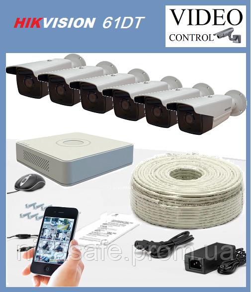 Комплект наружного видео наблюдения 6 камер  HIKVISION 61DT (1980×1080)