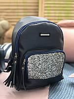 Женский рюкзак R-118-3, синий с серебряным блеском, фото 1