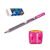 Набор для обучения письму Pelikan Combino Pink карандаш + ластик + точилка, розовый