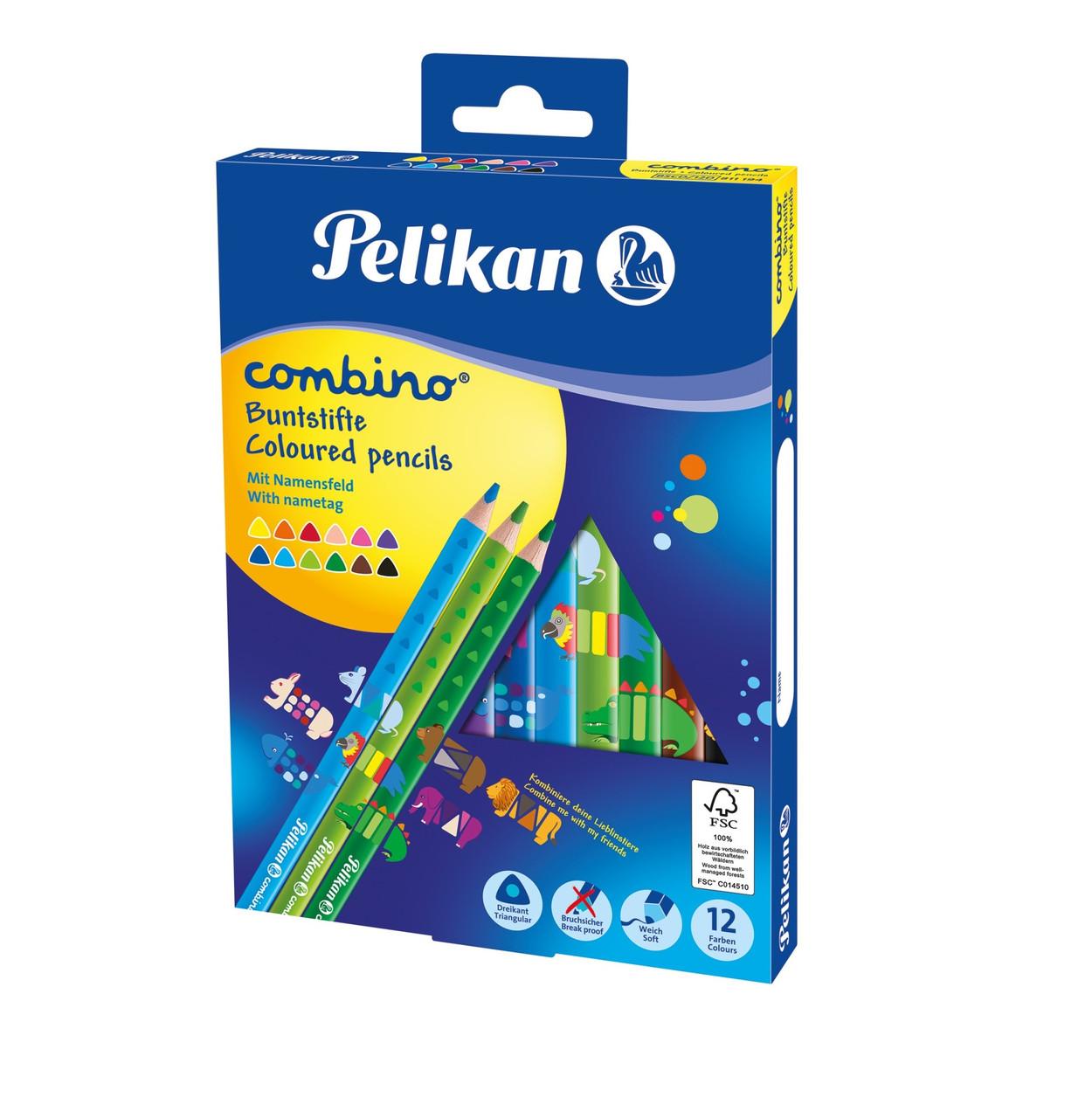 Карандаши цветные Pelikan Combino 12шт утолщенные с игровым принтом