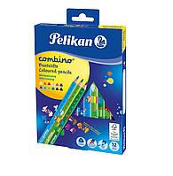 Карандаши цветные Pelikan Combino 12шт утолщенные с игровым принтом, фото 1
