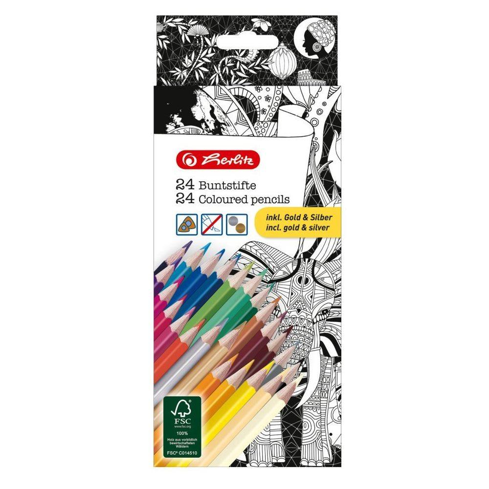 Карандаши цветные Herlitz Coloring for Adults 24 цвета