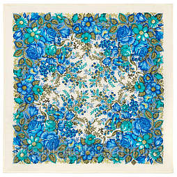 Заветная мечта 1821-0, павлопосадский платок шерстяной  с осыпкой (оверлоком)