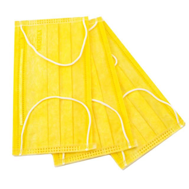 Маска желтая медицинская из нетканого материала одноразовая, 50 шт.