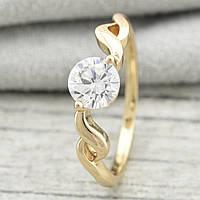 Кольцо с белым фианитом 16 размер, позолота 18К