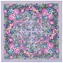 Заветная мечта 1821-1, павлопосадский платок шерстяной  с осыпкой (оверлоком)