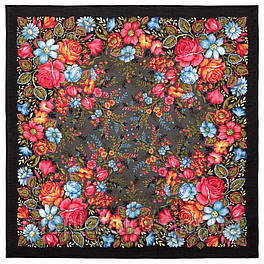 Заветная мечта 1821-18, павлопосадский платок шерстяной  с осыпкой (оверлоком)