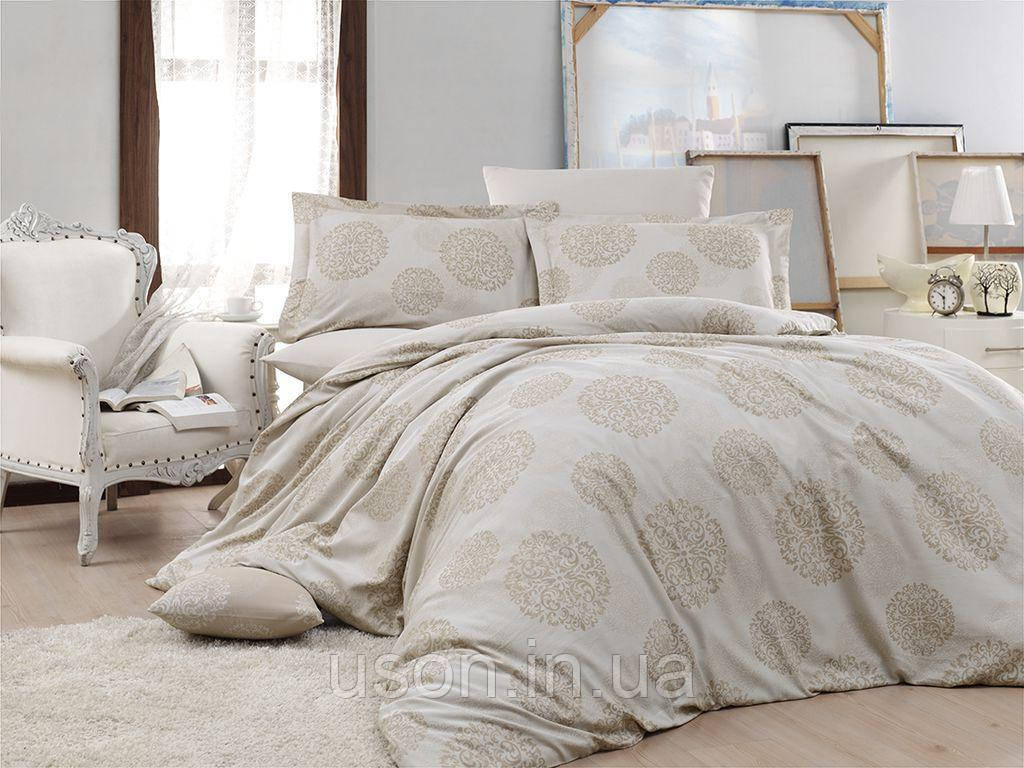 Комплект  постельного белья  жаккард ТМ Nazenin евро размер Lavida bej