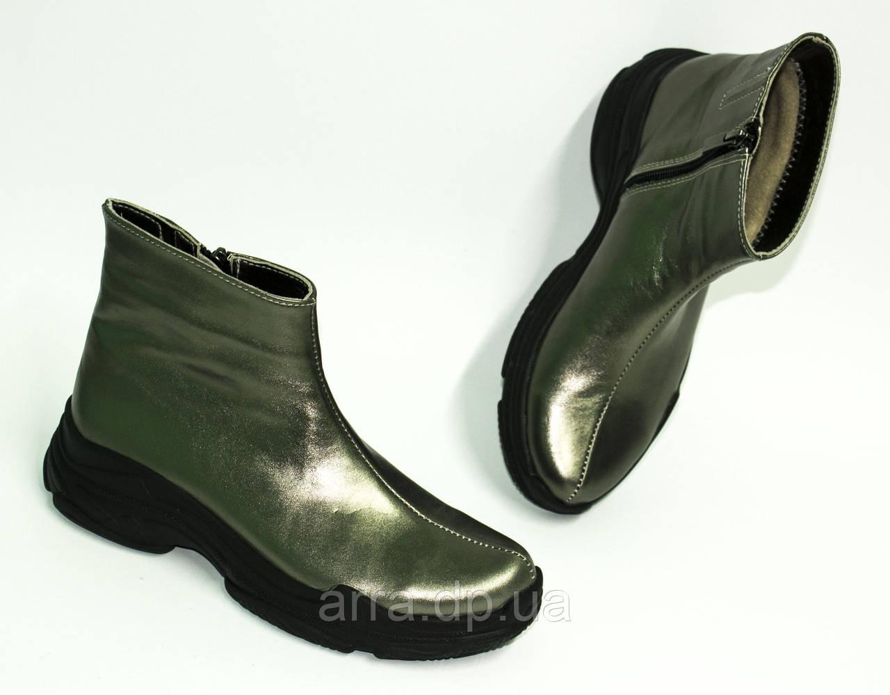 Женские демисезонные ботинки на байке, из натуральной кожи от производителя ТМ ARRA