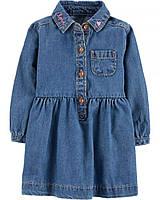 453dbf50043 Детское джинсовое платье Carters 24М для девочки рост 81-86 см платьице с  длинным рукавом