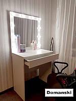 Стол визажиста. Гримёрное зеркало. Рабочее место бровиста визажиста.