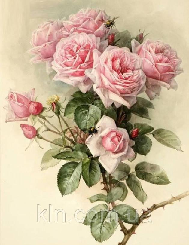 Алмазная вышивка Семейные розы в саду 45 х 30 см (арт. FS890) квадратные камни