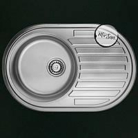 Овальная, врезная кухонная мойка Falanco 77*50 см, фактурная, толщина 0,6мм, глубина 160мм, фото 1