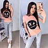Костюм женский модный футболка с принтом и штаны с декоративными разрезами Dtk1469