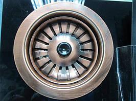 Евро вентиль полуавтомат (клик - клак) без перелива (темная медь)