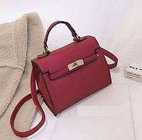 Женская сумочка среднего размера бордовая с перламутровым отливом , фото 1