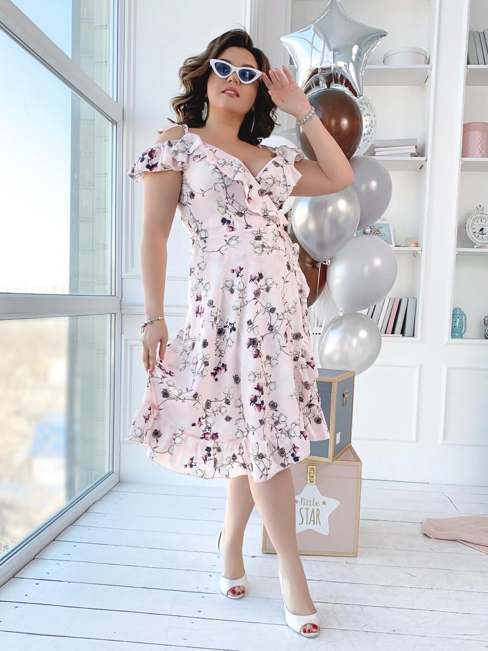 Платье  БАТАЛ принт в расцветках  461074