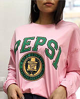 Модный женский свитшот oversize с рисунком цвет розовый