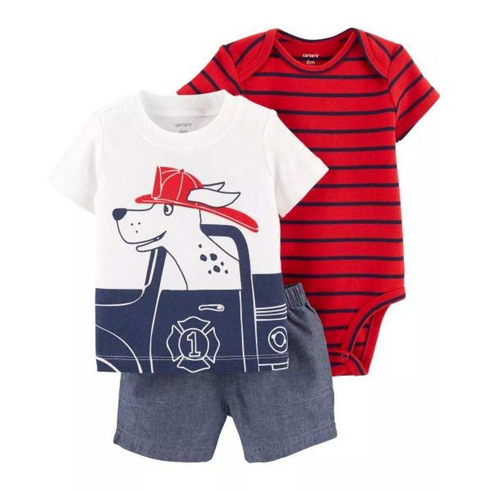 Набор: футболка, боди, шорты Картерс