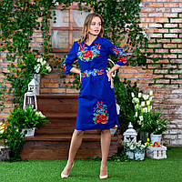 Вышитое платье Мальвы с васильками цвета индиго, фото 1