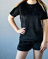 Женский чёрный летний спортивный велюровый костюм, Турция