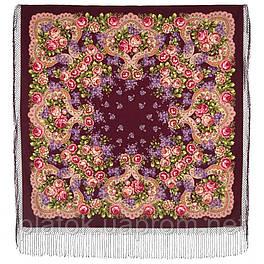 Сиреневый туман 983-7, павлопосадский платок (шаль) из уплотненной шерсти с шелковой вязанной бахромой