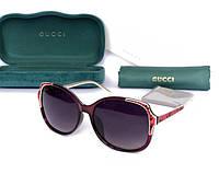 Женские солнцезащитные очки с поляризацией в стиле GUCCI (604) red, фото 1