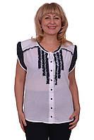 Легкая летняя блуза из натуральной ткани с шифоновыми вставками