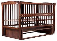 Кровать Babyroom Еліт резьба, маятник, откидной бок DER-6  бук орех, фото 1
