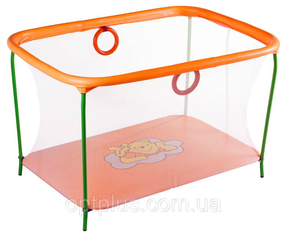 Манеж Qvatro LUX-02 мелкая сетка  оранжевый (winnie pooh)