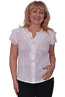 Шикарная летняя блуза из натуральной ткани рукава декорированы гипюром